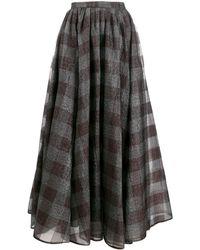 Erdem チェック フレアミディスカート - ブラック