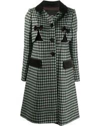 Marc Jacobs A-line Check Pattern Coat - Blue