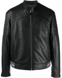 Just Cavalli ロゴヘム ライダースジャケット - ブラック