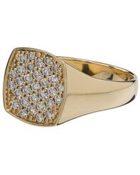 Tom Wood 9kt Yellow Gold Mini Cushion Diamond Ring - Metallic