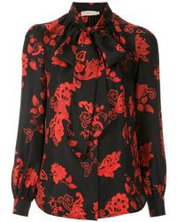 Tory Burch - Printed Bow Blouse - Lyst