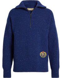 Burberry - Rib Knit Wool Cashmere Blend Half-zip Jumper - Lyst