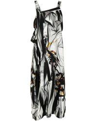 Y's Yohji Yamamoto Graphic Print Midi Dress - Black