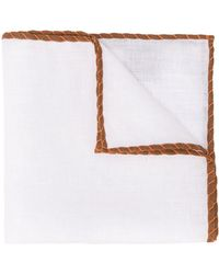 Eleventy Finished Edge Cotton Pocket Square - White