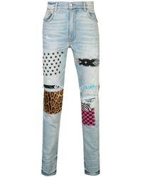 Amiri Jean slim à design patchwork - Bleu