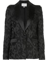 Alexis Floral-embroidered Blazer - Black