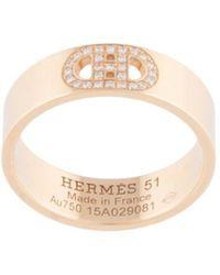 Hermès Anello Pre-owned in oro rosa 18kt con diamanti Pre-owned - Metallizzato