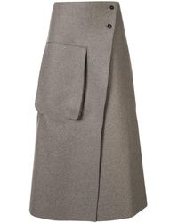 Studio Nicholson Hiro Flared Midi Skirt - Grey