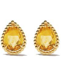 Boucheron 18kt Yellow Gold Serpent Bohème Citrine S Motif Teardrop Stud Earrings - Multicolour