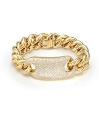 SHAY 18kt yellow gold jumbo link diamond tag bracelet - Metálico