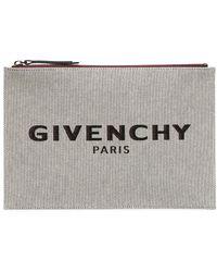 Givenchy Парусиновый Клатч С Логотипом - Серый