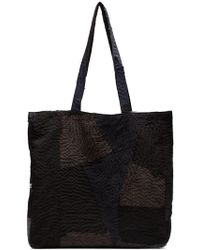 By Walid - Black And Grey Patch Detail Tote Bag - Lyst