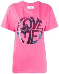 Alberta Ferretti Love Me Tシャツ - ピンク