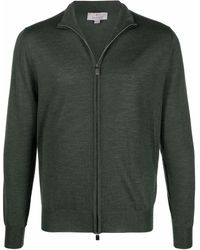 Canali Fine-knit Long-sleeve Zip-up Top - Green