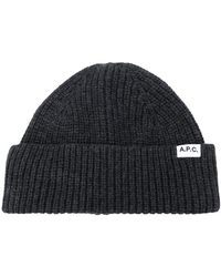 A.P.C. Ribbed Knit Hat - Gray