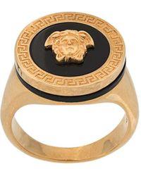 Versace Кольцо-печатка Medusa С Эмалью - Металлик