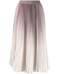 Agnona Pleated Ombré Print Skirt - Brown