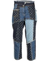Louis Vuitton 2020 Pre-owned Patchwork Cropped Jeans - Blue