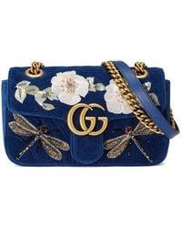 Gucci | Gg Marmont Embroidered Velvet Mini Bag | Lyst