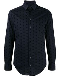 Giorgio Armani All-over Logo Dress Shirt - Blue