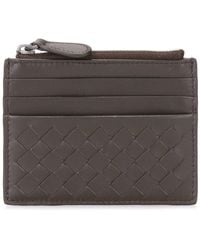 Bottega Veneta Woven Effect Zipped Wallet - Bruin