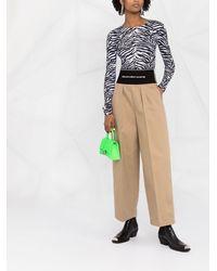 Alexander Wang Pantalones anchos con cinturilla del logo - Marrón
