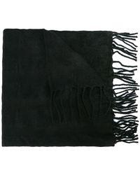 Yohji Yamamoto Fringed Hem Long Scarf - Black