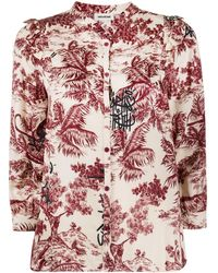 Zadig & Voltaire Collarless Three-quarter Sleeve Shirt - Multicolour