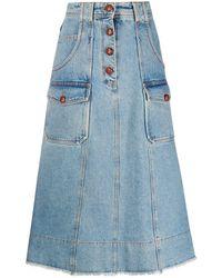 Philosophy Di Lorenzo Serafini A-line denim skirt - Bleu
