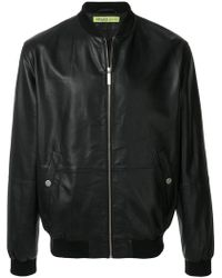 Versace Jeans Couture Leather Bomber Jacket - Black