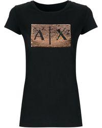 Armani Exchange Camiseta Slim Fit Com Paetês E Logo - Черный