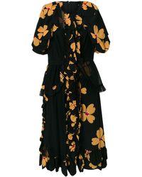 Simone Rocha Vestido con diseño floral y volantes - Negro