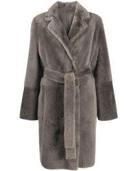 Yves Salomon Shearling Belted Fur Coat - Grey