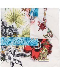Ferragamo Sjaal Met Bloemenprint - Wit