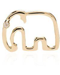 Yvonne Léon - 18kt Gold And Diamond Elephant Stud Earring - Lyst