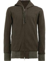 Taichi Murakami Combined Knit Hooded Jacket - Green