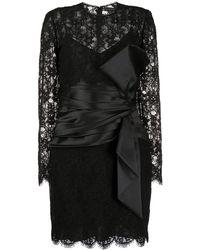 Zuhair Murad Lace-panel Midi Dress - Black