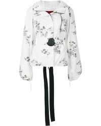 Moncler Gamme Rouge Floral Patch Hooded Jacket - White