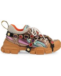 Gucci Flashtrek Sneakers With Removable Crystals - Brown