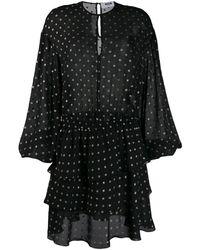 MSGM Платье С Оборками И Принтом В Горох - Черный