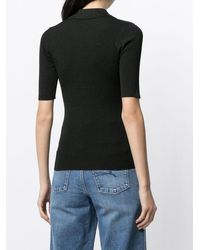 Nobody Denim Pointelle Ribbed Polo Shirt - Black