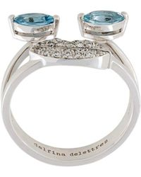 Delfina Delettrez 18kt Weißgoldring mit Diamanten und Aquamarinen - Mehrfarbig