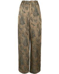 Uma Wang Pantalon droit à fleurs - Multicolore