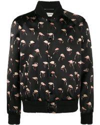 Saint Laurent - Pink Flamingo Print Bomber Jacket - Lyst
