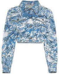 Off-White c/o Virgil Abloh - Tapestry cropped denim jacket - Lyst