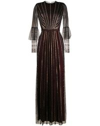 Temperley London Расклешенное Вечернее Платье С Бисером - Черный
