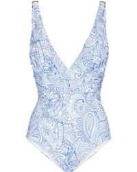 Melissa Odabash Panarea Paisley-print Swimsuit - Blue