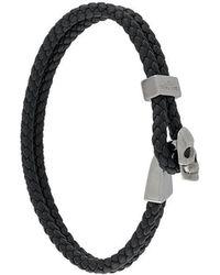 Northskull - Woven Streling Silver Skull Bead Bracelet - Lyst