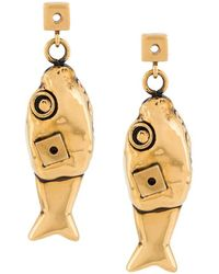 Marni Fish Motif Earrings - Metallic