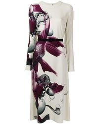 Ports 1961 Vestido midi con estampado floral - Blanco